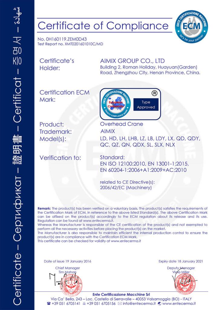 Certificado De CE De Grúa Viajera